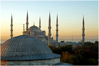 Sultan Ahmed Mosque in background. Dome of Firuz Aga Mosque in foreground.