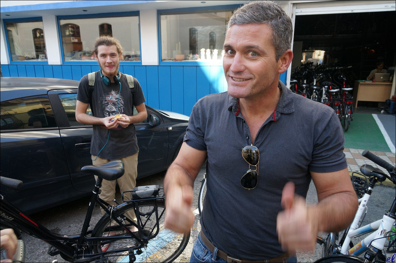 Seville: Carlos, right, wild-man bike tour guide, and his associate Eric from B.C.